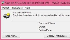 offline printer message