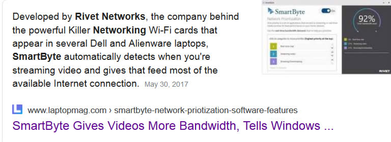rivet networks smartbytes google description