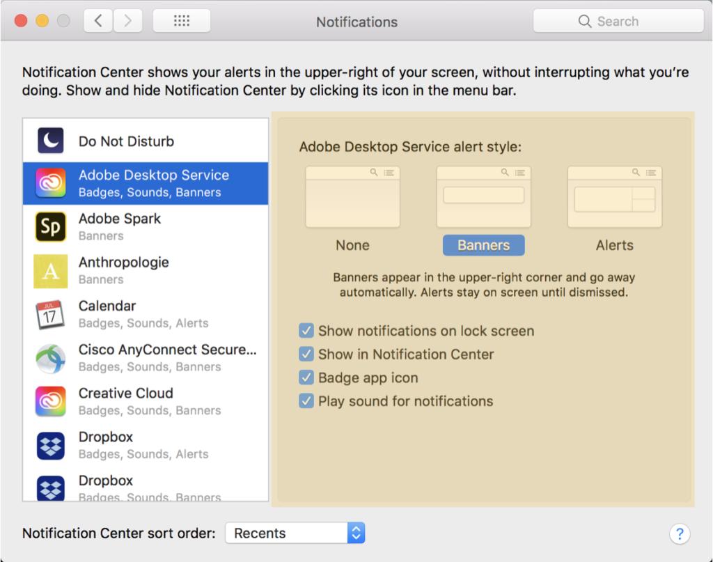 App Notification Window Preferences
