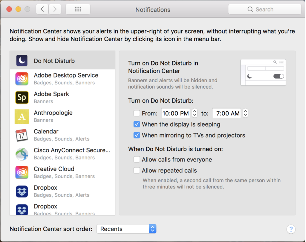 SYSTEM PREFERENCES FOR NOTIFICATIONS