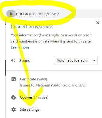 site settings under lock icon