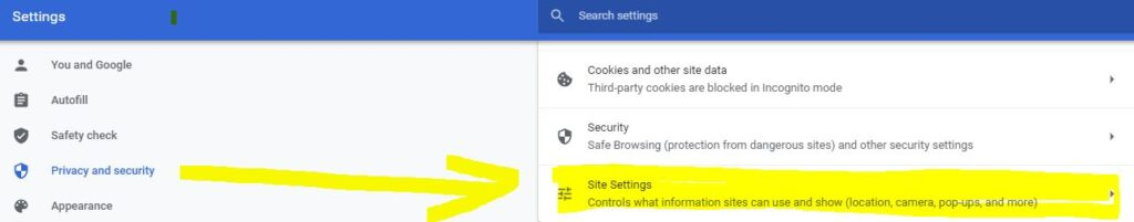 chrome privacy and notification settings