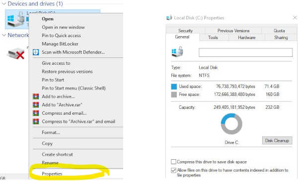 hard drive properties and details