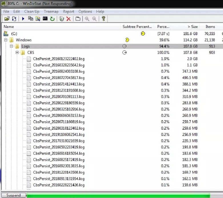 windirstat showing log files